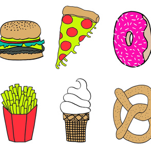 plush food // sampler mixed food fries burger pretzel ice cream donut cute foods plush plushie cut and sew