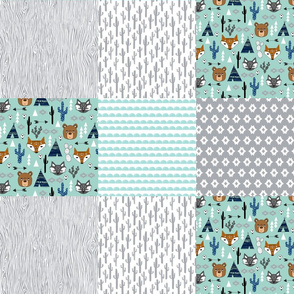 cheater quilt // mint and grey southwest baby kids nursery cactus aztec baby