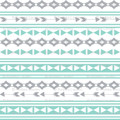 stripe southwest fabric // stripes mint and grey southwest triangles aztec tribal kids nursery