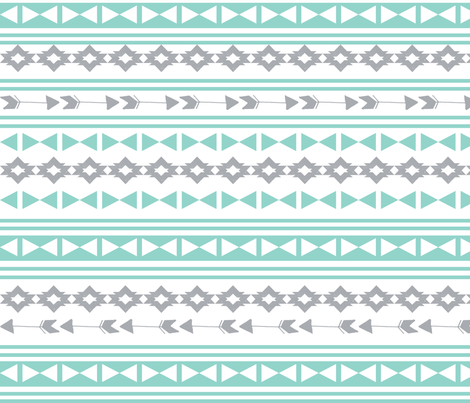 stripe southwest fabric // stripes mint and grey southwest triangles aztec tribal kids nursery  fabric by andrea_lauren on Spoonflower - custom fabric