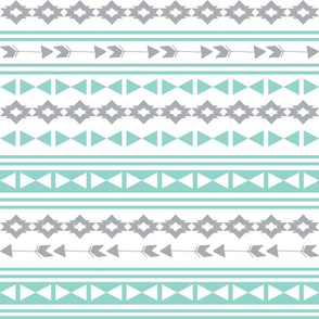 stripe southwest fabric // stripes mint and grey southwest triangles aztec tribal kids nursery