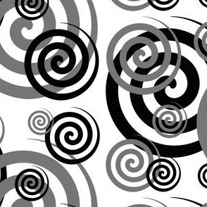 Black Grey Gray Spiral Swirl Geometric Design