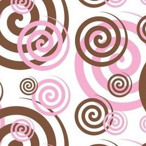 Brown Pink Spiral Swirl Geometric Design