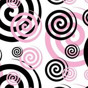 Pink Black Abstract Geometric Swirl