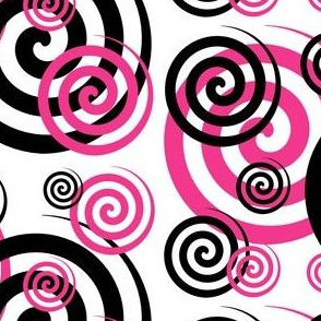 Hot Pink Black Abstract Geometric Swirl