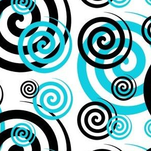 Turquoise Teal Blue Black Abstract Geometric Swirl