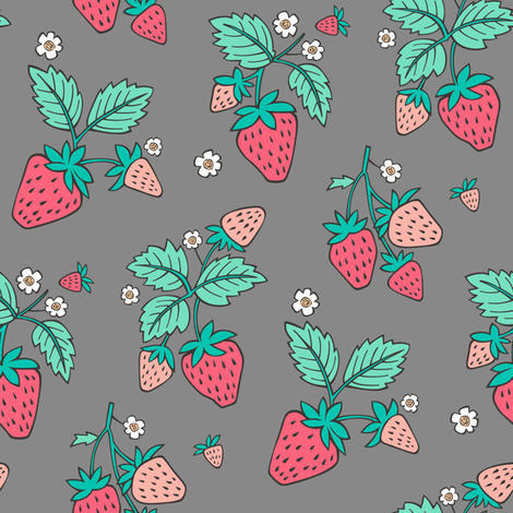 Strawberries on Grey fabric by caja_design on Spoonflower - custom fabric
