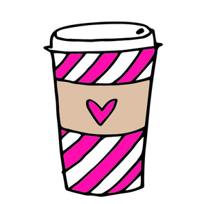 coffee // latte girls pink stripes coffee drink plush cut and sew plushie kids