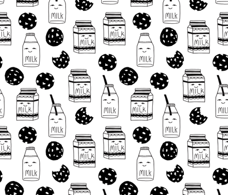 milk and cookies // black and white milk and cookies cute baby nursery kids design fabric by andrea_lauren on Spoonflower - custom fabric
