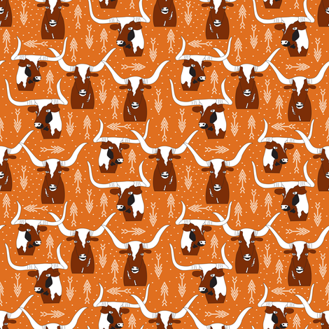 Texas Longhorns Orange fabric by angelastevens on Spoonflower - custom fabric