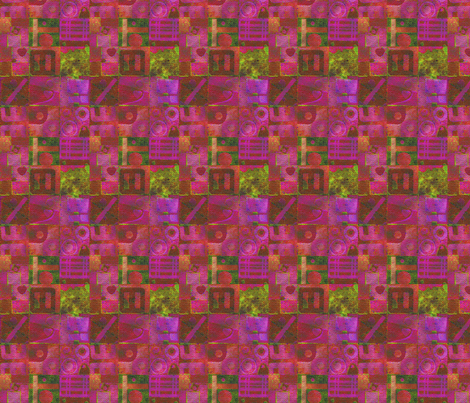 Collage7 in Pink fabric by flowerchildtrends on Spoonflower - custom fabric