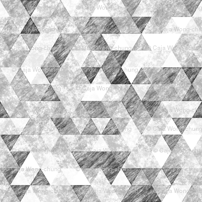 Triangles Grunge Pencil  Geometric Black&White Grey