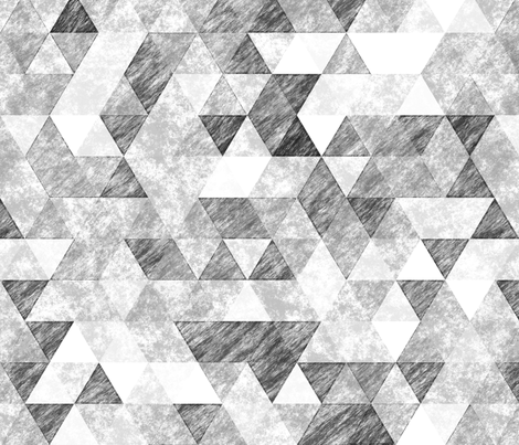 Triangles Grunge Pencil  Geometric Black&White Grey fabric by caja_design on Spoonflower - custom fabric