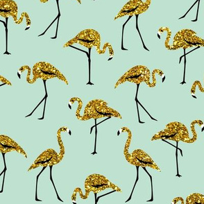 gold glitter flamingos - mint