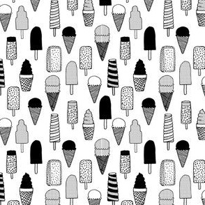 ice cream cones // black and white ice cream cone waffle cone ice cream