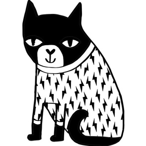 black cat plushie // black and white cut and sew cat kitten kitty bolt cute cat