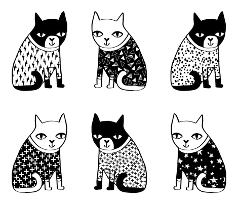 cat plush // cut and sew multi plush pillow cats cat pillow cat design cat lady black and white cat fabric by andrea_lauren on Spoonflower - custom fabric