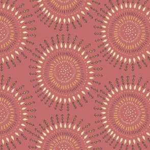 Boho Tribal Circles - Coral Clay -Large Scale