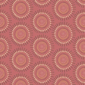 Boho Tribal Circles - Coral Clay - Small Scale