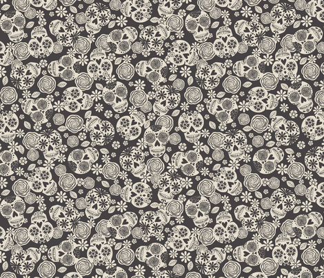 Sugar Skulls - Black & Ivory fabric by bohemiangypsyjane on Spoonflower - custom fabric