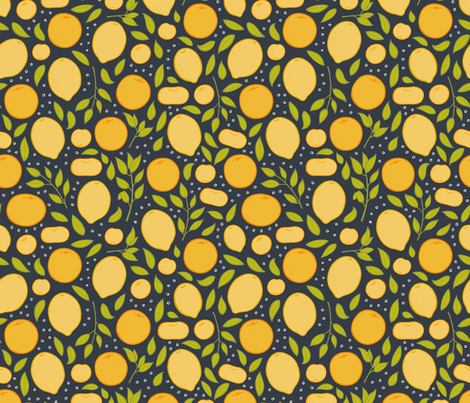 Citrus - Charcoal fabric by jaymehennel on Spoonflower - custom fabric
