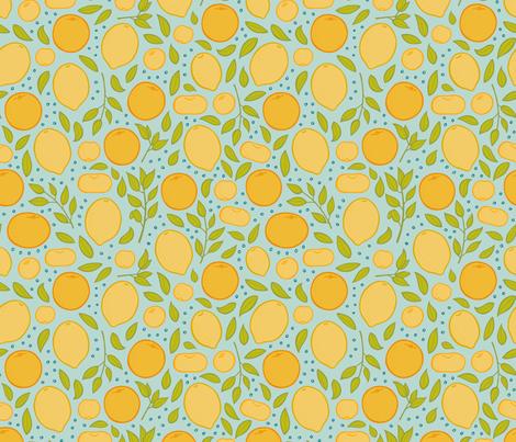 Citrus - Aqua fabric by jaymehennel on Spoonflower - custom fabric