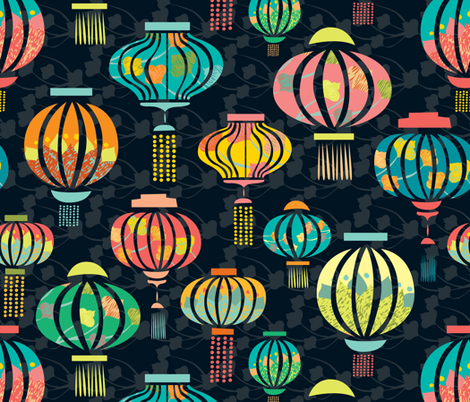 New Year Lantern Festival fabric by ceciliamok on Spoonflower - custom fabric