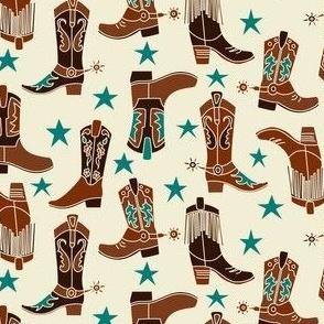 Western Boots Cream
