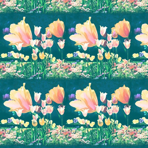 Peachy Tulips Teal Stripes