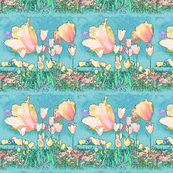 Pastel Peachy Tulips Soft Aqua Stripes