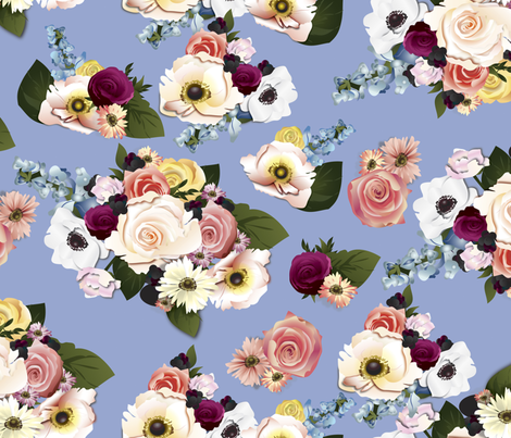 Neobohemian Rhapsody on Serenity Blue fabric by unicornusrex on Spoonflower - custom fabric