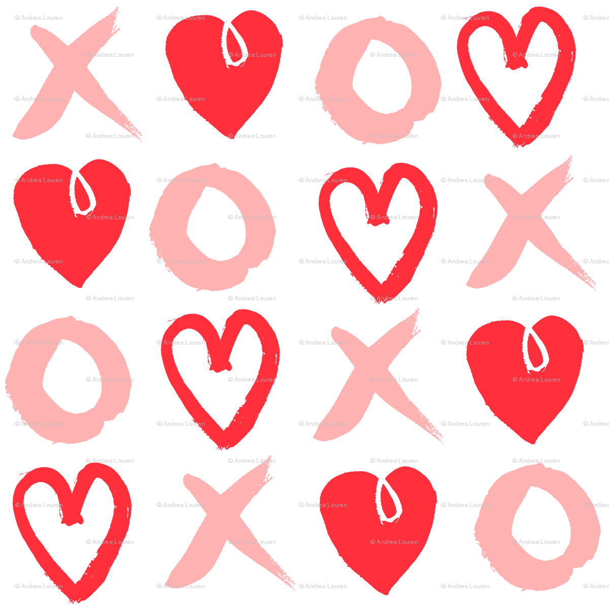 xoxo hearts pink and red heart valentines love design giftwrap andrea_lauren spoonflower