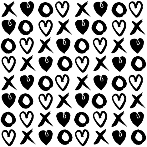 xoxo hearts // love black and white trendy valentines 2016 design fabric by andrea_lauren on Spoonflower - custom fabric