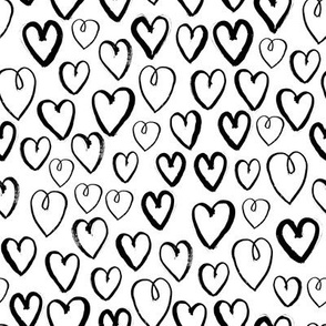 hearts // black and white hand-drawn gender neutral cool trendy scandinavian inspired black and white kids design