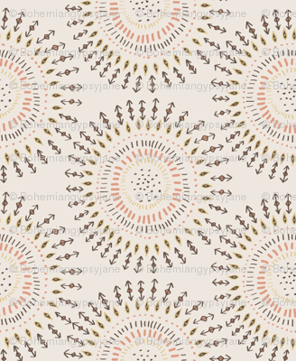 Boho Tribal Circles - Cream - Small Scale