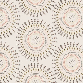 Boho Tribal Circles - Cream - Large Scale