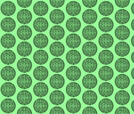 "Aztec Calendar on Mint - Small (2.5"") fabric by thinlinetextiles on Spoonflower - custom fabric"