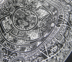 "Aztec Calendar on Black - Small (2.5"")"