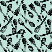 """Cooking Spoons on Ice Blue - Small (3"""")"""