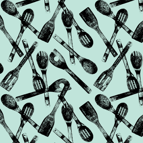 Cooking Spoons on Ice Blue // Small fabric by thinlinetextiles on Spoonflower - custom fabric