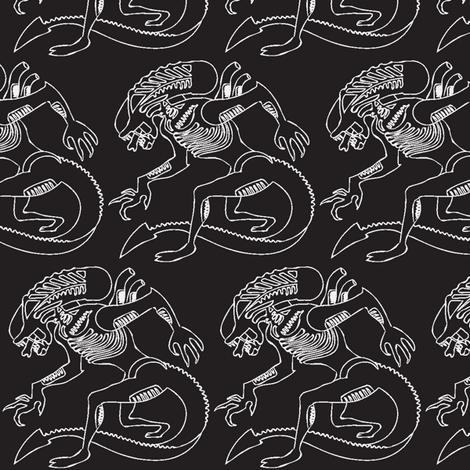 Black white xenomorph half brick repeat fabric by stellarevolutiondesigns on Spoonflower - custom fabric