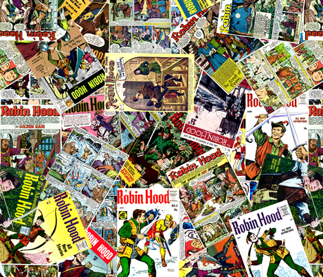 vintage comic book robin hood - LARGE PRINT fabric by janbalaya on Spoonflower - custom fabric