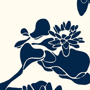 Water Lily prints navy cream