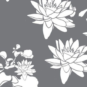 Water Lily print wht on gr
