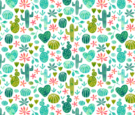 cacti in watercolor (small) fabric by heleen_vd_thillart on Spoonflower - custom fabric
