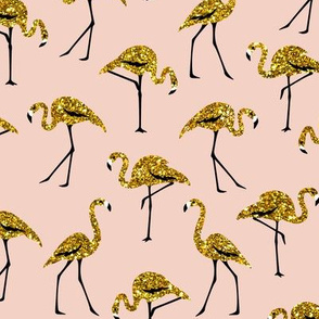 gold glitter flamingos - blush