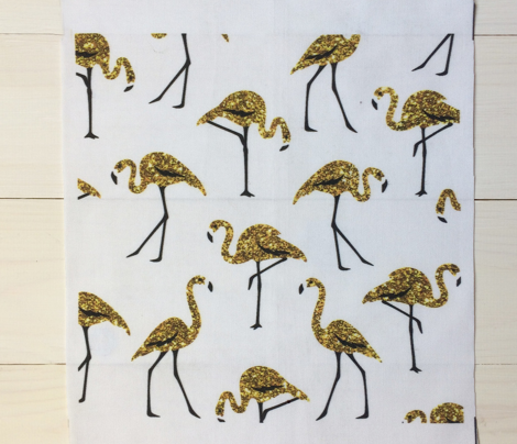 gold glitter flamingos - white