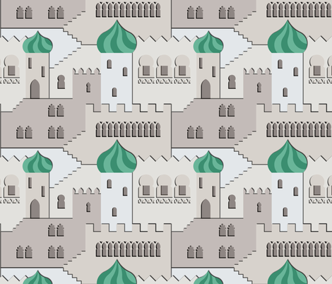 the thousand and one windows (grey-mint) fabric by analinea on Spoonflower - custom fabric
