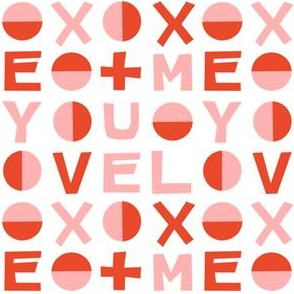 love typography // red and pink smaller size love hearts valentines