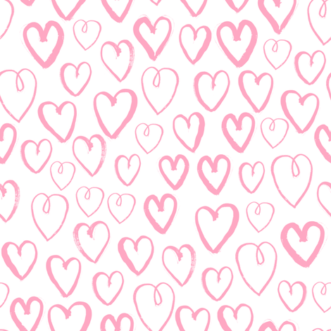 Hearts Pink And White Valentines Love Print Sweet Little Pastel Hand Drawn